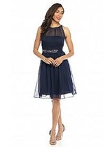 Adrianna Papell Belted Chiffon Halter Dress 14  # S 207 - $29.69