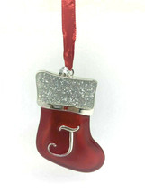 "ENAMELED METAL ""J"" MONOGRAM  XMAS STOCKING w/FINE EUROPEAN CRYSTAL XMAS ... - $9.88"