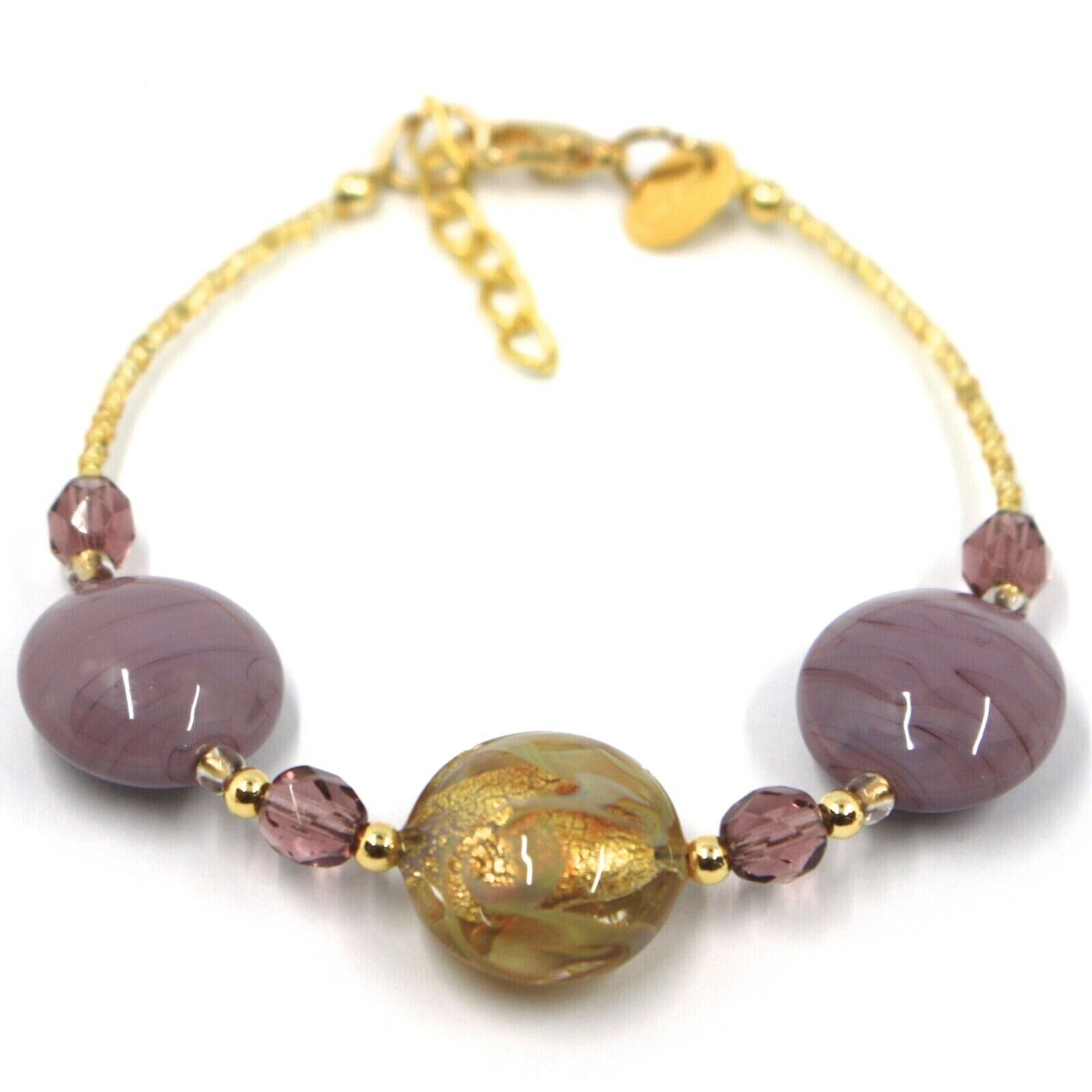 """BRACELET PURPLE YELLOW MURANO DISC GLASS & GOLD LEAF, MADE IN ITALY, 19cm, 7.5"""""""
