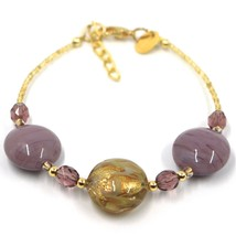 """BRACELET PURPLE YELLOW MURANO DISC GLASS & GOLD LEAF, MADE IN ITALY, 19cm, 7.5"""" image 1"""
