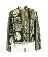 CHICO'S Size 1 M Black, Brown Batik Cotton Jacket Unlined Lightweight To... - $21.99
