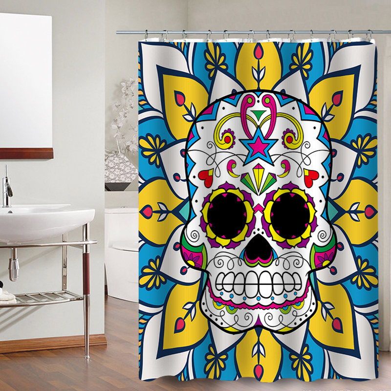 Skull Happy Halloween 52 Shower Curtain Waterproof Polyester Fabric For Bathroom