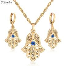 "Yellow Gold Color s Hamsa Symbol Fatima Hand 18"" Necklaces & Pendants Earrings C - $14.81"