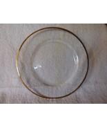 "8 LOVELY Vintage Mottled Clear Glass 8"" Salad or Cake Plates Gilt Edge Trim - $63.36"