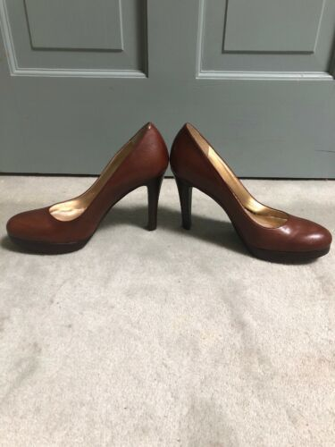 "New Jessica Simpson 8.5 M Brown 5"" Classic Round Toe Stiletto Heels Shoes image 3"
