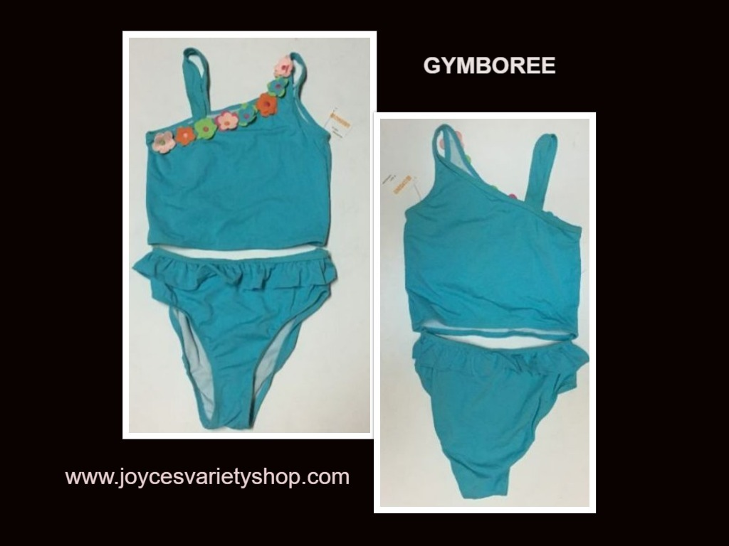 Youth Two Piece Swimwear Swimsuit Sz 12 Blue Floral SPF 50+