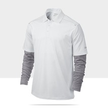NIKE GOLF MENS PERFORMANCE GRAPHIC LAYER POLO SHIRT 483291 Top M MD WHIT... - $60.76