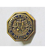 "Hospital Volunteer Service Lapel Pin Vintage Item 3/4"" Wide Gold Plated - $3.00"