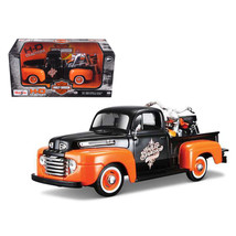 1948 Ford F-1 Pickup Truck Orange/Black with 1958 FLH Duo Glide Harley D... - $34.69