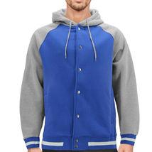 Men's Fleece Varsity Sweatshirt Letterman Sports Raglan Button Up Hoodie Jacket image 8