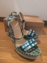 Christian Louboutin Wedge Sole Sandals Espadrilles Plaid Blue EU 38 From... - $269.00