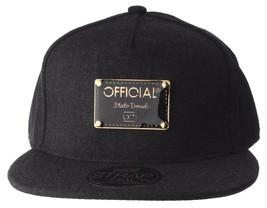 Official Crown Black Luxury Brushed Wool Stato Dorada Strapback Baseball Hat NWT image 1