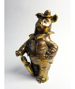 Pig in a suit with umbrella (Dandy the Pig)-bronze pig figurine, statuette - $21.00