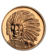 "Copper Round 1 oz .999 fine Copper. -  Chief Red Cloud ""Golden State Mint"" - €8,45 EUR"