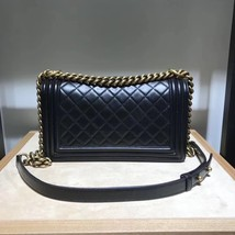 AUTHENTIC CHANEL LE BOY BLACK QUILTED CALFSKIN MEDIUM FLAP BAG RHW image 4