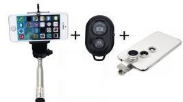 Selfie Stick - Shutter Remote - 3 Clip-on Camera Lens Set - $17.95