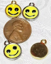 HAPPY SMILEY FACE YELLOW EPOXY FINE PEWTER PENDANT CHARM image 2
