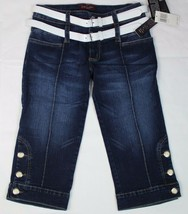 Baby Phat Jean Co. Juniors jeans short pants blue sky stretch with belt ... - $29.96