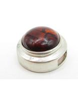 ESPO SIG 925 Sterling Silver - Vintage Cabochon Cut Amber Slide Pendant ... - $38.21