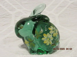 FENTON ART GLASS 1994 SEA MIST GREEN BUNNY FIGURINE W/HP DAISIES~S. HOPKINS - $49.99