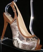 Guess 'Alise' peep toe brown snake print buckle slingback platform heels 6M - $31.47