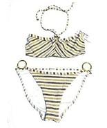 Freya Caramel Liquid Gold Striped Bandeau Bikini Swimsuit Size 30D/Large... - $71.25