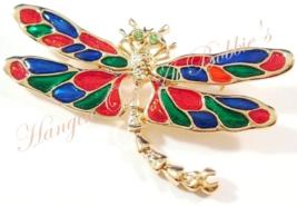 Dragonfly Pin Brooch Peridot Crystal Eyes Multicolor Enamel Gold Tone Sp... - $16.99