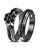 14k Black Gold 925 Silver Round Black CZ Gorgeous Engagement Bridal Ring... - $71.99