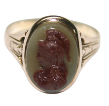 14k Rose Gold Carved Roman Soldier Ring 3.7 Grams Size 8 - $195.00