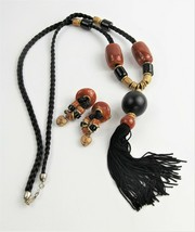 ESTATE VINTAGE Jewelry BOHO CHIC TRIBAL SET TASSEL NECKLACE & EARRINGS H... - $85.00