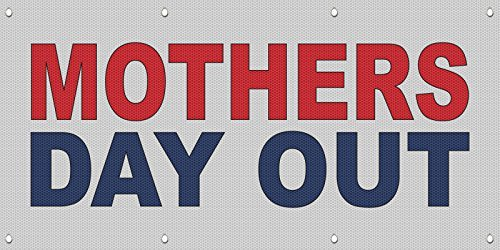 Mothers Day Out Red Blue MESH Windproof Fence Banner Sign 5 Ft x 10 Ft