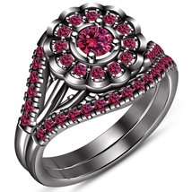 Flower Shape Bridal Ring Set In Pink Sapphire Black Gold Finish Pure 925 Silver - $102.99