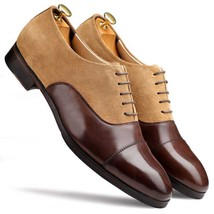 Handmade Men's Brown Leather & Beige Suede Dress/Formal Oxford Shoes image 6