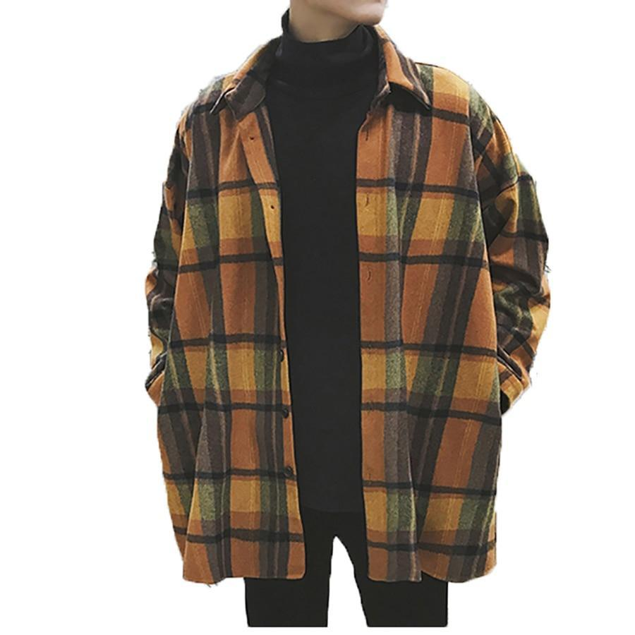Primary image for Oversized Flannel Vintage Shirt Men Plaid Long Sleeve Check Shirts For Men Loose