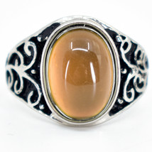 Vintage Inspired Style Silver & Black Painted Color Changing Cabochon Mood Ring