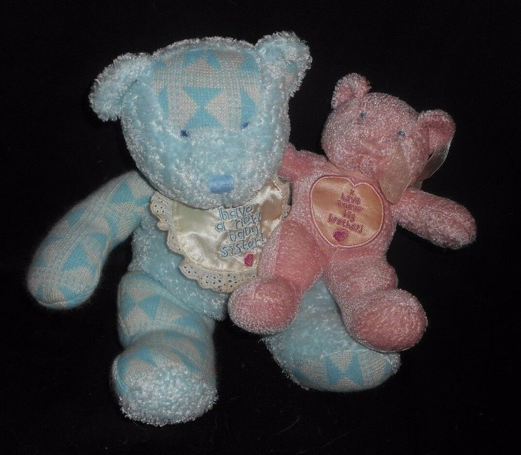 2000 ENESCO BLUE BROTHER PINK SISTER TEDDY BEAR RATTLE STUFFED ANIMAL PLUSH TOY