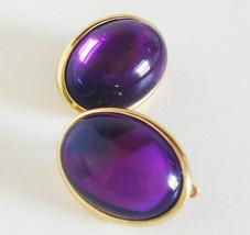 Trifari Purple Lucite Cabochon Clip On Earrings - $24.95