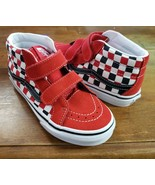 VANS Preschool Sk8-Mid Reissue V Checkerboard Black/Racing Red/White VN0... - $50.00