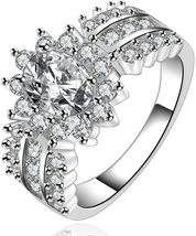 925 Sterling Silver Sunflower Ring For Women Crystal Silver Cubic Zircon... - $14.39