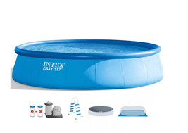Intex 18ft X 48in Easy Set Pool with Filter Pump, Ladder, Ground Cloth & Cover image 3
