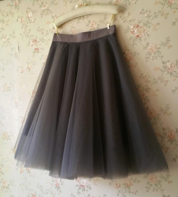 Black Tulle Midi Skirt Women A-line Black Midi Skirt Knee Length Black Skirts