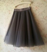 Black Tulle Midi Skirt Women A-line Black Midi Skirt Knee Length Black Skirts image 7