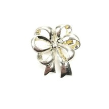 Vintage MJ Signed Silvertone Figural Bow Pin Brooch Pendant - $12.60