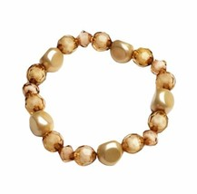Rose Gold Pale Pink Beaded Stretch Bracelet Handmade Handcrafted Costume Jewelry - $9.99