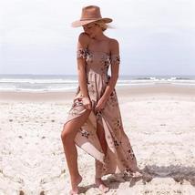 Boho Off Shoulder Floral Summer Summer Maxi Sundress image 5