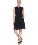 Isaac Mizrahi 22 Eyelet Shirt Dress Lace Trim with Belt Black 22W - $27.76