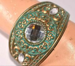vintage wide plastic bangle bracelet with large rhinestone cabochon cab - $19.79
