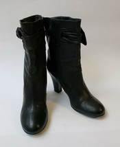 Biala Boots Booties Anthropologie Heels Side Zipper Bow Black Italy Size 9 M - $59.35