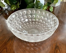 """Nemours 10"""" Bowl Frosted Crytal Mint Condition Signed Lalique France Black Dots - $592.02"""