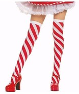 Candy Cane Striped Thigh High Christmas Elf Stockings - PLUS/QUEEN SIZE - $3.83